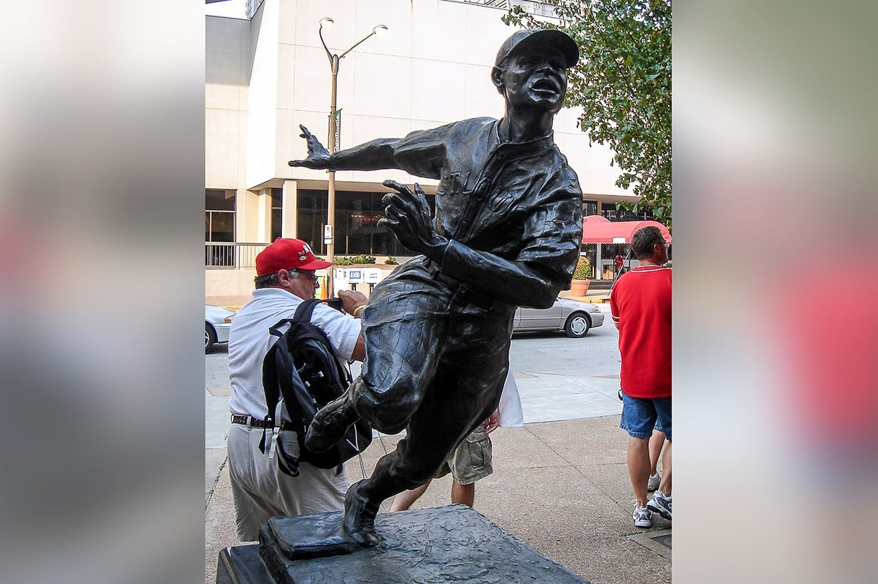 Cool Papa Bell statue outside old Busch Stadium