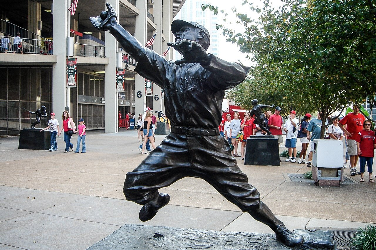 George Sisler statue outside old Busch Stadium