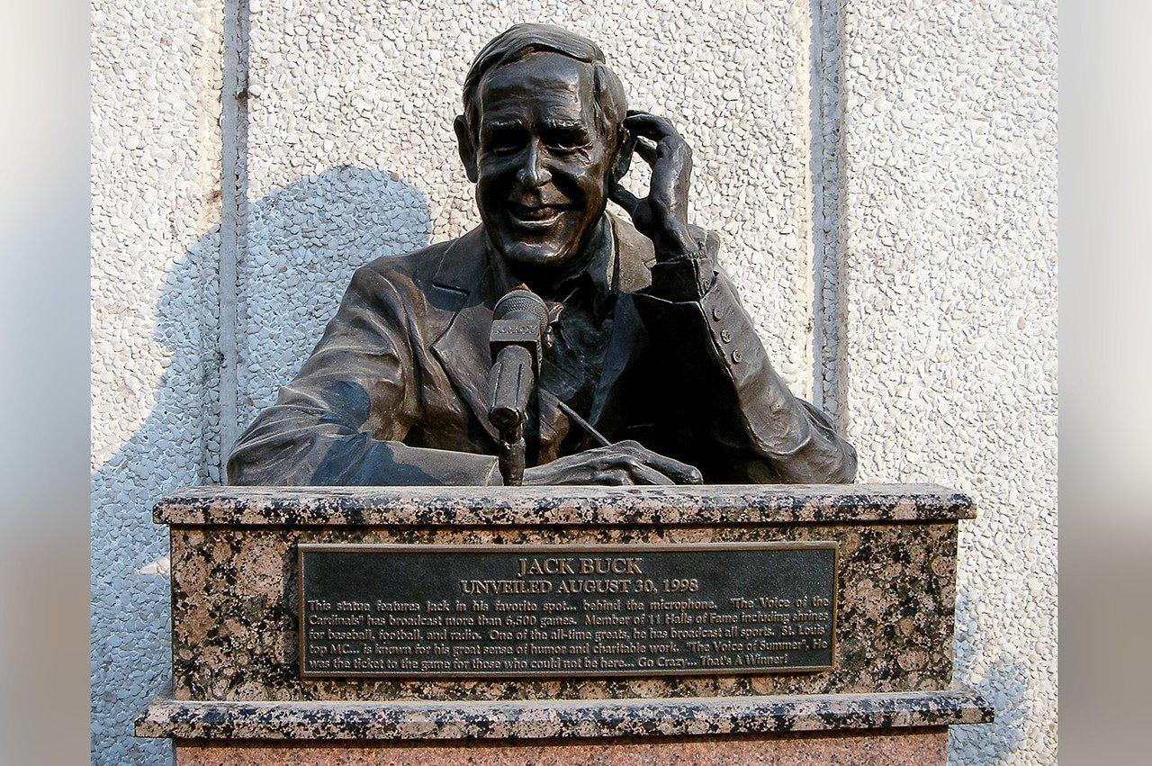 Jack Buck statue outside old Busch Stadium