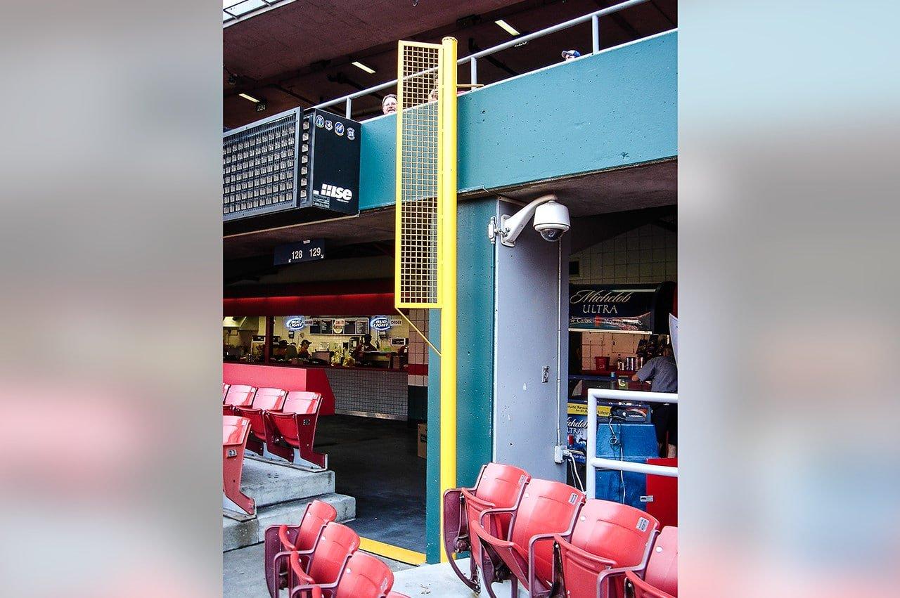 Left field foul pole of new Busch Stadium 2005