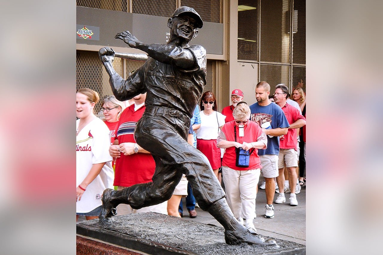 Stan Musial statue outside old Busch Stadium