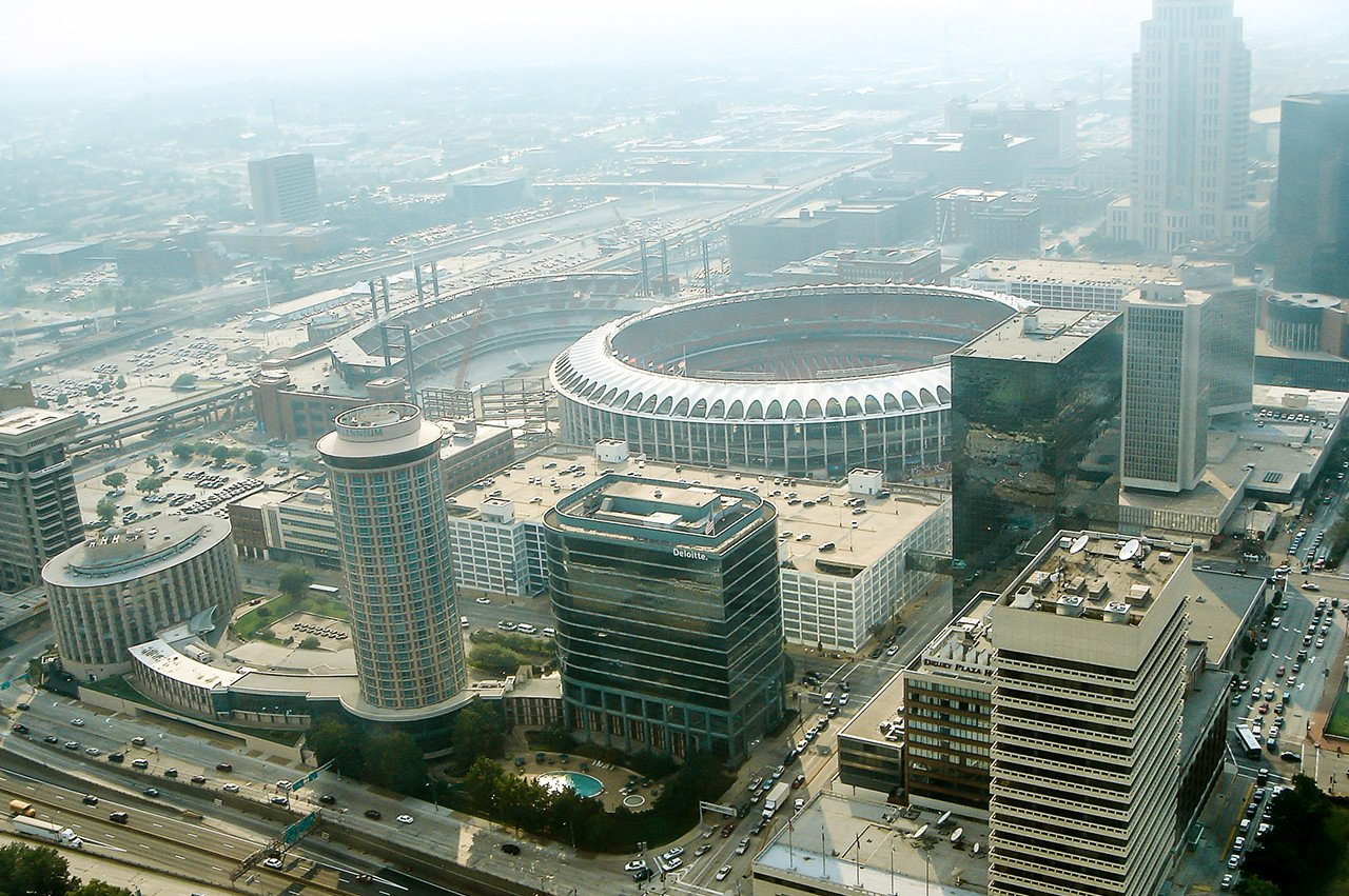 View of Old Busch Stadium from the Gateway Arch 2005