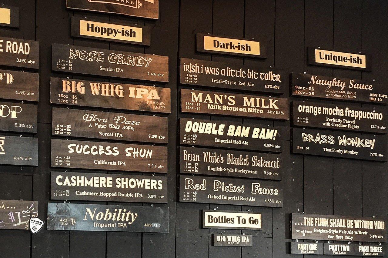 Noble Ale Works - Beer Menu - Hoppy-ish, Dark-ish, and Unique-ish.