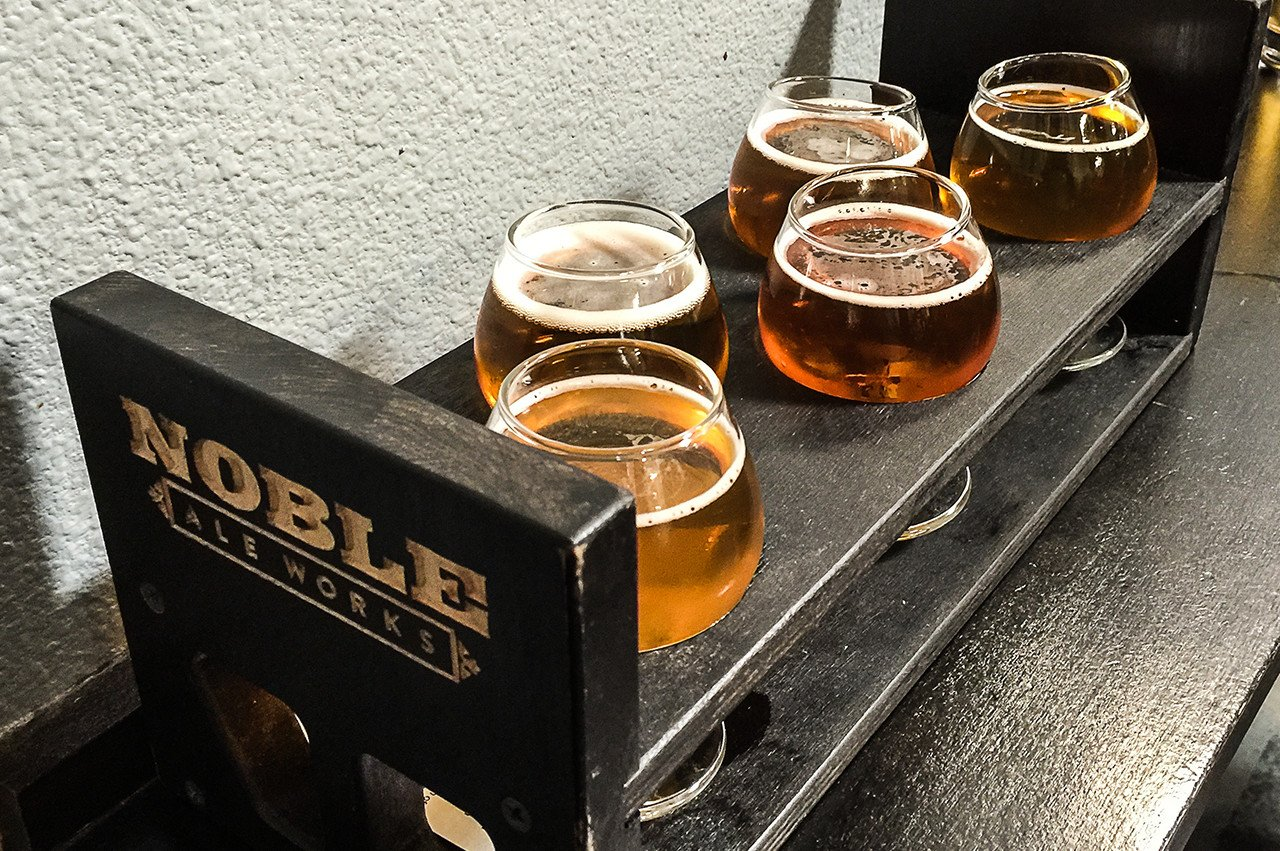 Noble Ale Works - IPA tasters - Nose Candy, Big Whig IPA, Glory Daze, Success Shun, and Cashmere Showers