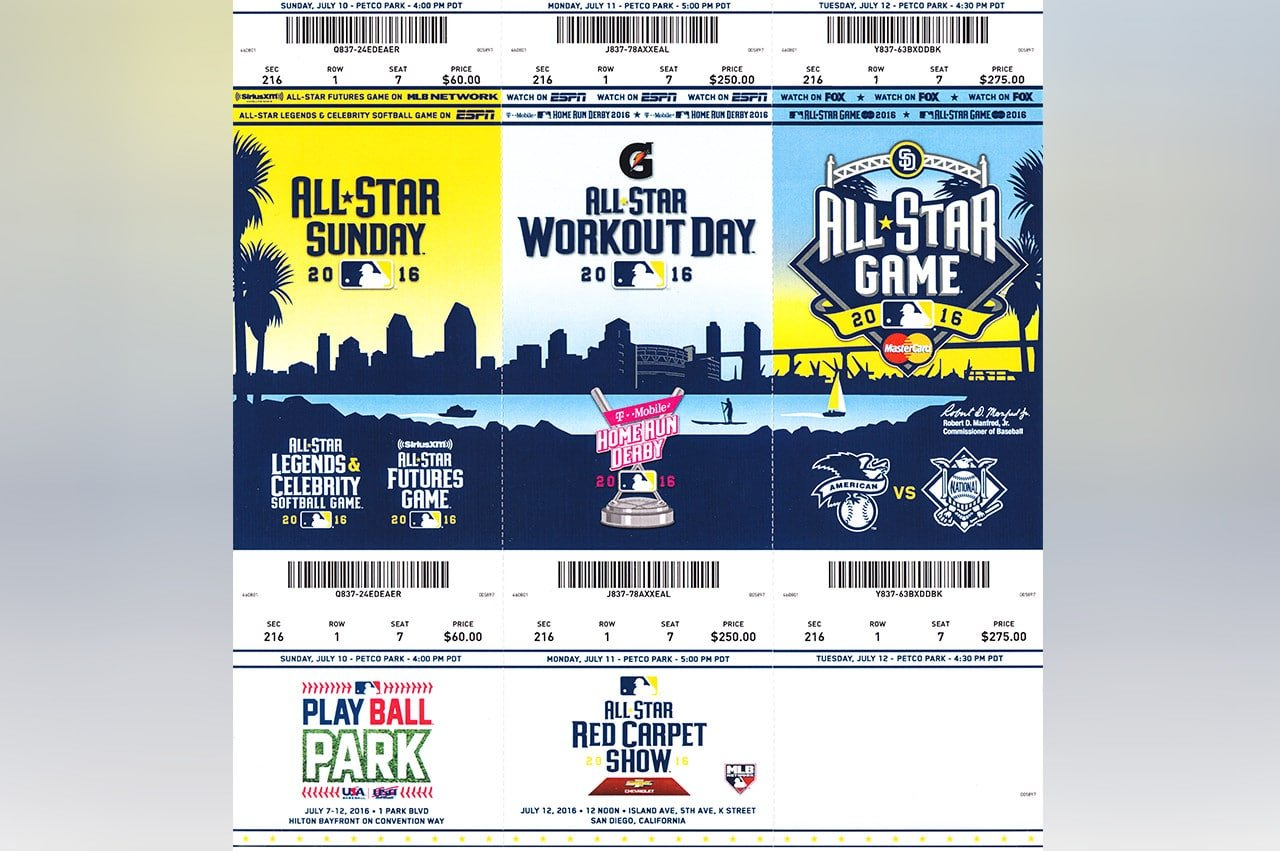 Ticket Stubs From 2016 MLB Futures Game Home Run Derby All-Star Game