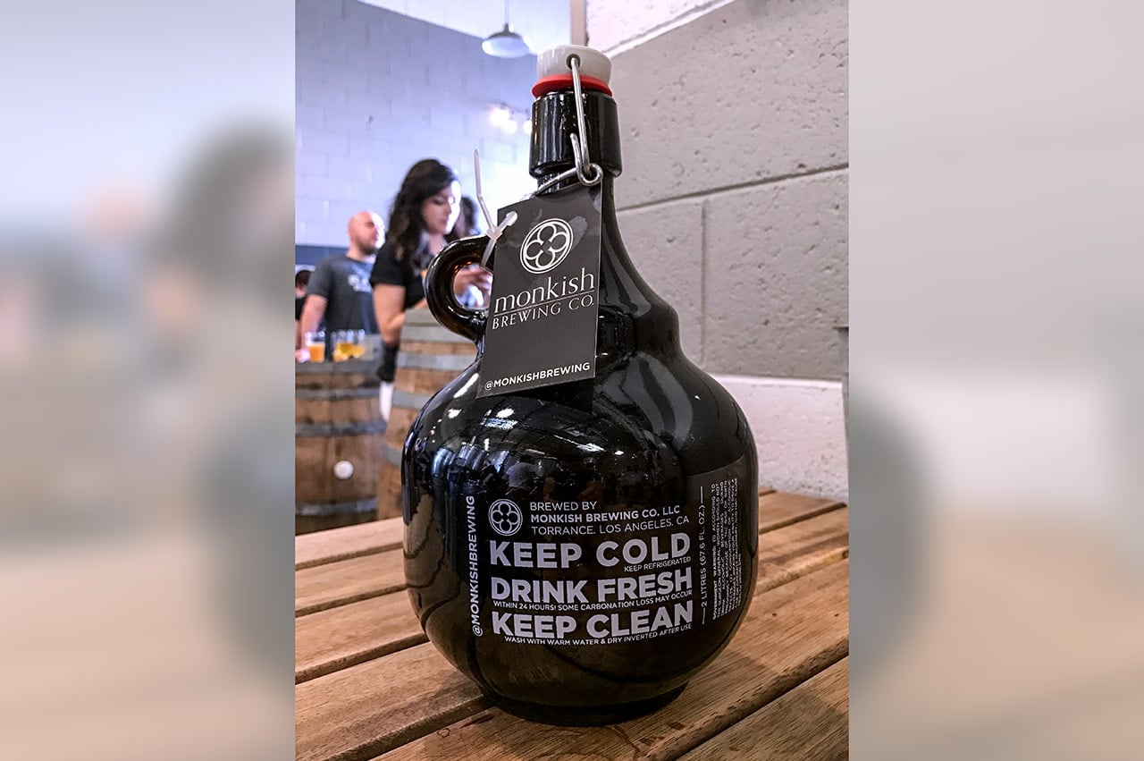 Monkish Brewing Company Torrance California Growler Eric C. Is President